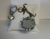MIRROR KEYCHAIN Silver/Bronze Tone w/ Faux LARGE Diamond Metal Ring & Three Crystal Charms
