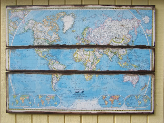 Vintage World Map Wall Art. 1975 National Geographic. Political Map Wall Decor Blue