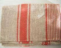 Natural Linen Bath Sauna Towel - Huckaback - Red Stripe- Pure Flax- Bathroom Linens - Badetuch.