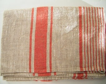 Natural Linen Bath Sauna Towel - Huckaback - Red Stripe- Pure Flax- Bathroom Linens - Badetuch.
