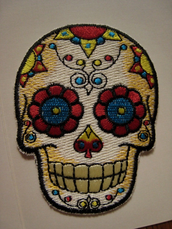 Items similar to Sugar Skull Iron On Patch on Etsy