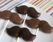 Chocolate Mustache Lollipops - 12 favors