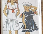 Girl's Children's Sailor Dress Nautical Vintage Sewing Pattern New Look 6119 Size 3 - 10