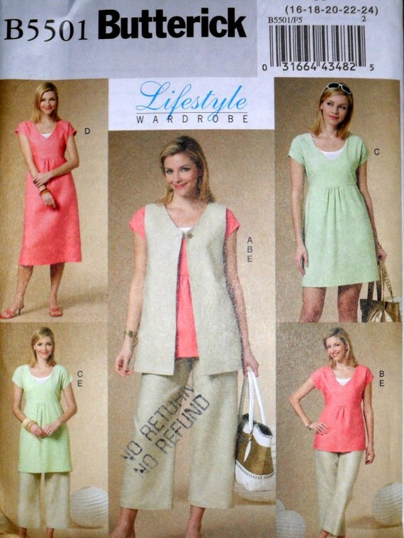 Misses Vest Top Dress and Pants Butterick Lifestyle Wardrobe 5501 Size 16 to 24 Plus Size