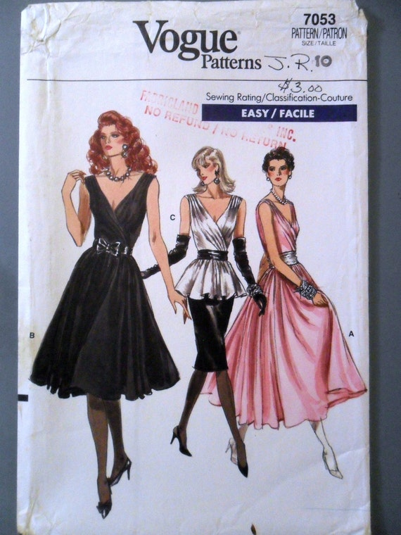 Evening Dress Top and Skirt Cross-Over Pleated Bodice Evening Wear Formal Wear Prom Easy Vogue 7053 Size 10