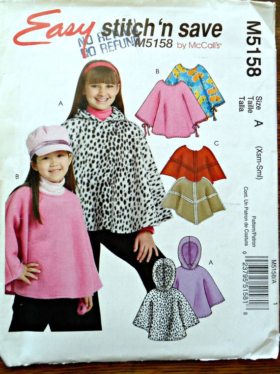 Children's Girl's Poncho's Sewing Pattern Easy Stitch and Save McCall's 5158 Size XSM (3-4) SM (5-6)