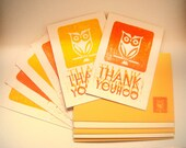 Thank You Card - Hand Stamped Owl Thank You cards - Set of 6 - yellow and orange - envelopes decorated with owl print included - linocut