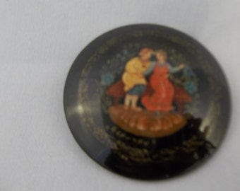 Russian Hand Painted Lacquer Brooch