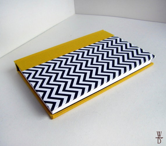 Yellow Chevron Blank Book - Small Pocket Hardback Journal