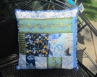 Blue Spring Summer Floral Quilted Pillow Cover