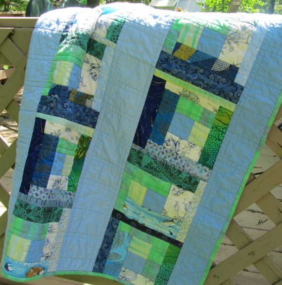 Modern Baby Quilt:  Blue and Green Log Cabin