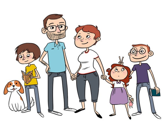 Custom Family Portrait - Printable Digital Cartoon Illustration