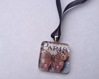 Glass Tile Necklace - Paris Butterfly