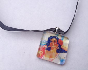 Glass Tile Necklace - Island Woman