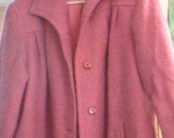 Vintage mohair and wool pink 3/4 length coat