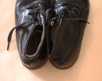 Vintage Black Leather Children's Shoes