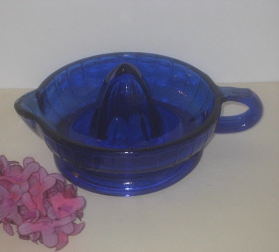 Vintage Cobalt Blue Depression Glass Juicer Reamer Bowl
