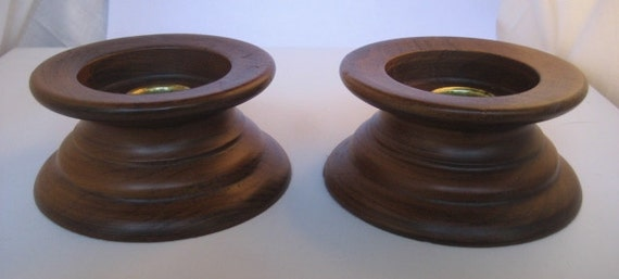 Vintage Mid Century Modern Wooden Candle Holders Pair