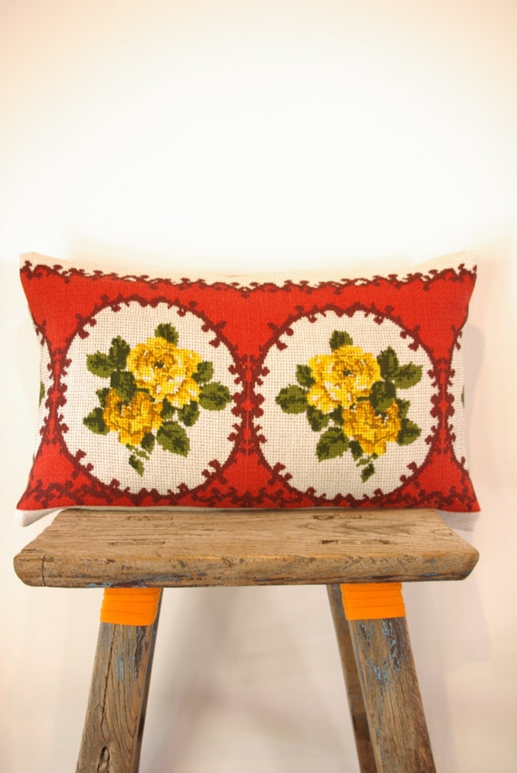 Cushion Cover Upcycled Vintage Tablecloth with 100% Natural Linen backing