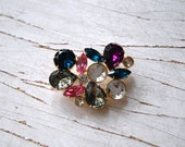 Gold Tone Brooch with Colored Rhinestones 1950's