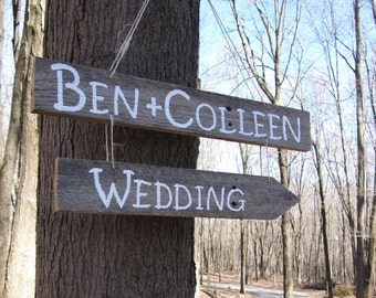 Custom Painted Wedding Directional Sign with Names, Reclaimed Wood