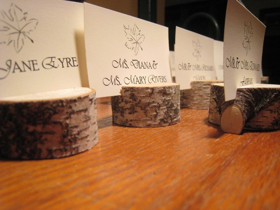 Set of Twenty-Five (25) White Birch Place Card Holders