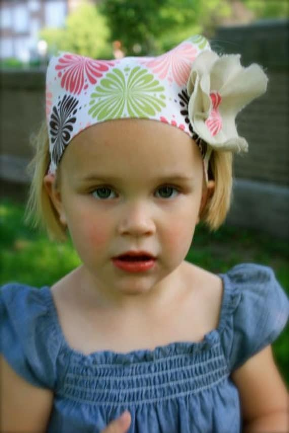 Toddler Girl Headscarf with Flower Applique Pink Peach Brown Lime