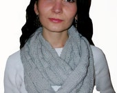 Ladies Scarf, Cable Pattern, Gray Color