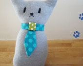 "Handmade Stuffed Cat ""Tobias"" (Shipping Included)."