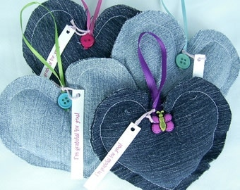 Denim Heart Ornaments Thank You Gift Grateful Hearts Set