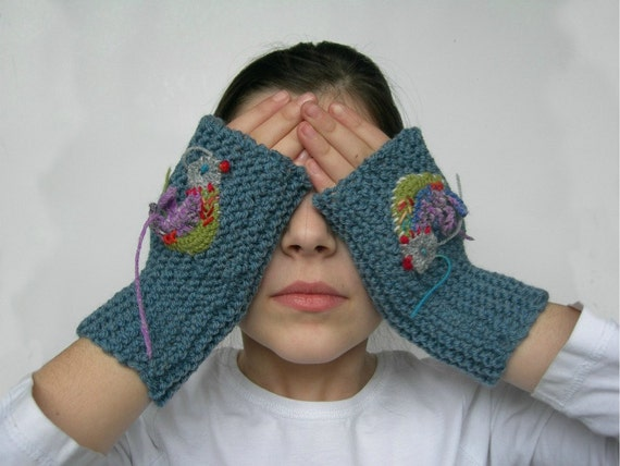Blue Grey Fingerless Gloves with Colourful Dancing Bird