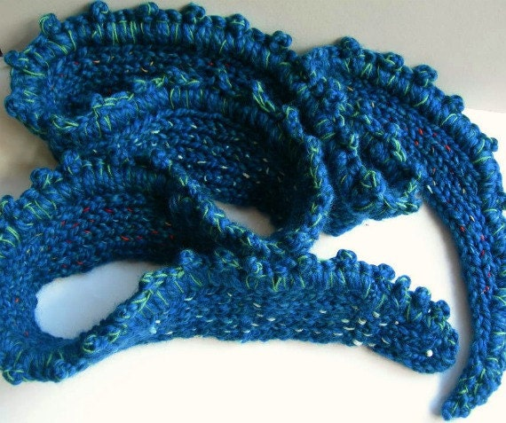 Knitting Pattern For Snake Scarf : Knitted Snake Scarf. Blue. Embroidered. Infinity Scarf.