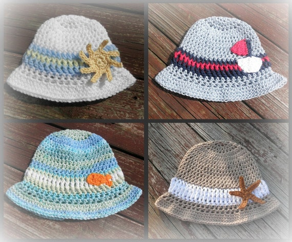 PDF Crochet Pattern Little Man Sun Hat with appliques Baby and Toddler sizes