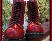 80s Doc Martens Army / Combat Steel Toe Boots Red Patent 8 Eye Leather-UK6 - Made in England