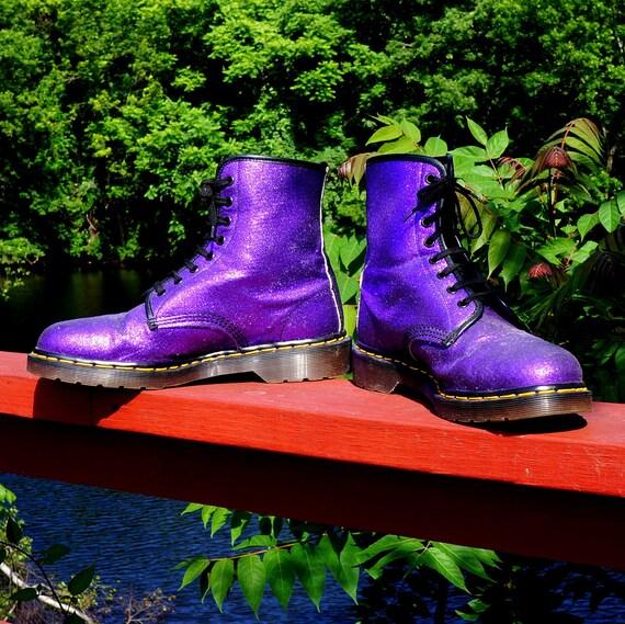 Glitter Boots Vintage Purple Dr Martens Vegan Boots Eight 8 Eye DOCS uk 9 us 11 Old School Sparkle Combat Grunge Rave Punk Army England Made