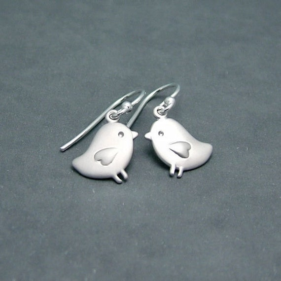 The Sweetest Love Bird Earrings, Matt Silver Bird Earrings with Sterling Silver Earwires, Dainty and SImple