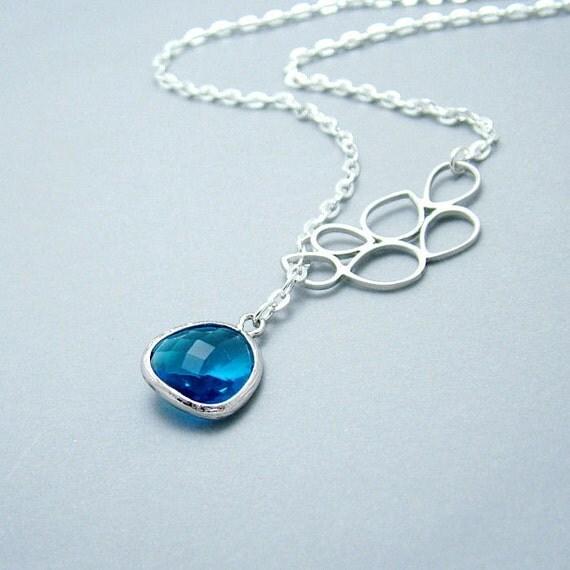 Blue Glass Teardrop Necklace, Capri Blue Teardrop Silver Lariat Necklace