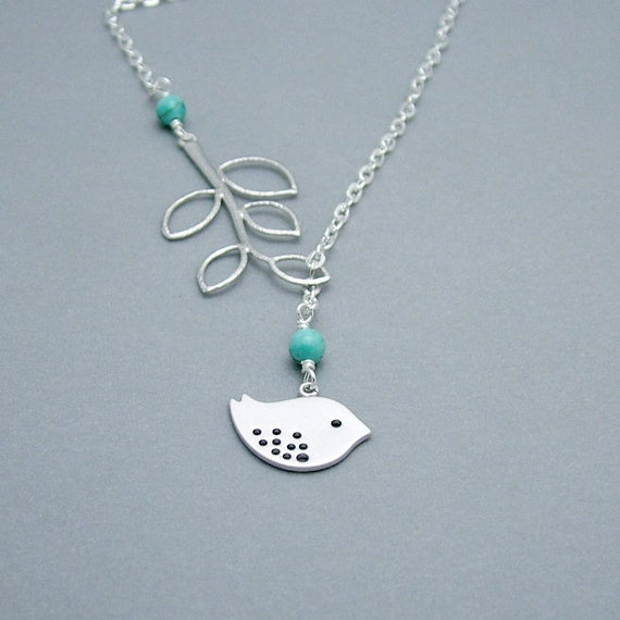 Turquoise Branch and Bird Necklace, Bird Lariat in SIlver