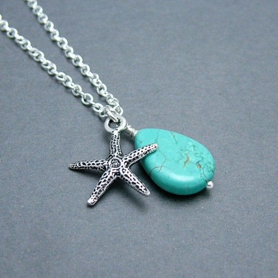 Starfish Necklace with Turquoise Teardrop