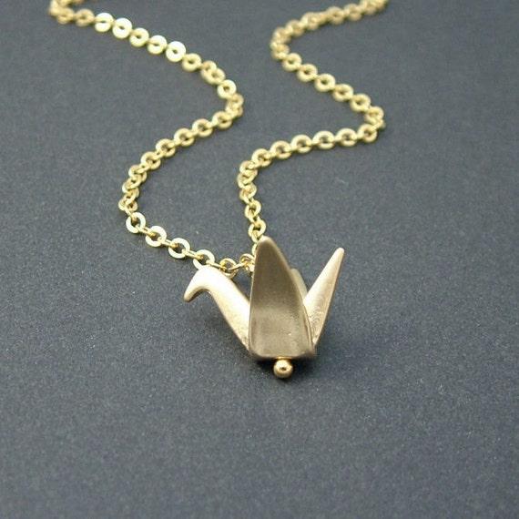 Gold Origami Crane Necklace, Origami Bird Necklace