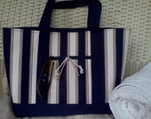 "Navy, Khaki, and White Striped Nautical Tote- ""Dee"" Medium"