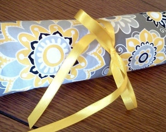 Yellow, Grey, Black, and White Floral Striped Travel Jewelry Roll