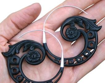 Wood Hoop Earrings - silver hoop earrings - Black Hoop Earrings - Black wood fake-gauge , tribal hoops,  Silver Earrings - Abundance