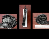 Original Sculpture on wood Small. Black  white, lightweight, Sculpture with stand, ready to be placed 7 x 7 x 2 inch