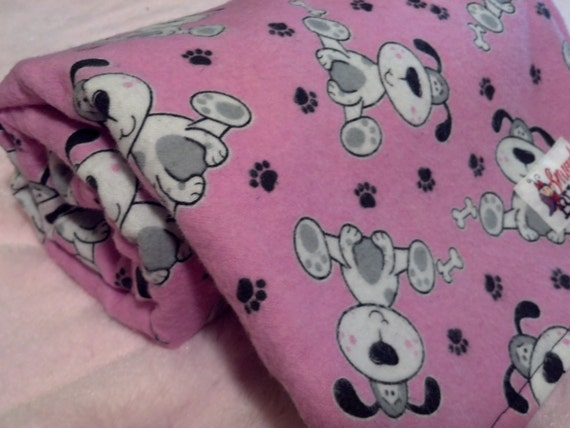 Black and White Puppy with Paw Prints and Bones on Pink Flannel Baby Blanket - Ready To Ship