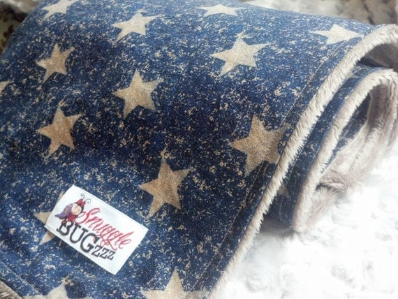 Vintage Patriotic Stars Navy Blue and Taupe Brown Minky Baby Blanket  - Ready To Ship