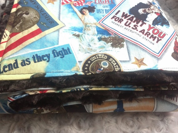 Ready To Ship  - Army Military Vintage Patriotic Posters Baby Blanket with Brown Swirl Minky