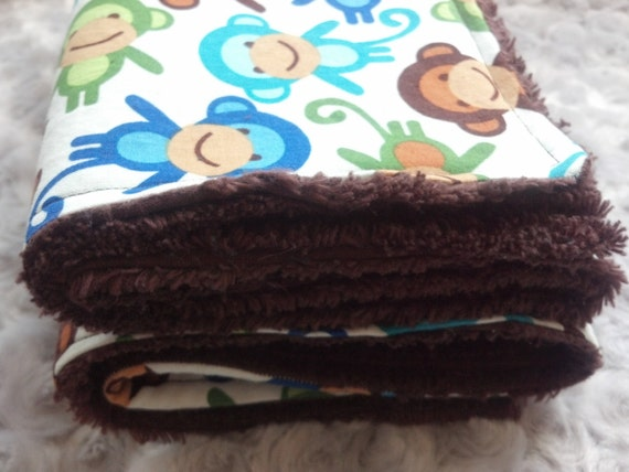 Urban Zoologie Blue Brown Green Monkey Print with Brown Chenille Mini Baby Blanket - Ready To Ship