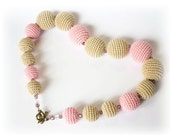 SALE, Beige pink crochet necklace, crochet beads necklace,free worldwide shipping