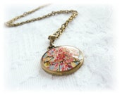Flower Blossom pendant - Vintage Pendant  - Pink Pendant - For her - ready to ship